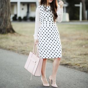 J.CREW | Sheath Dress In Polka Dot Textured Tweed